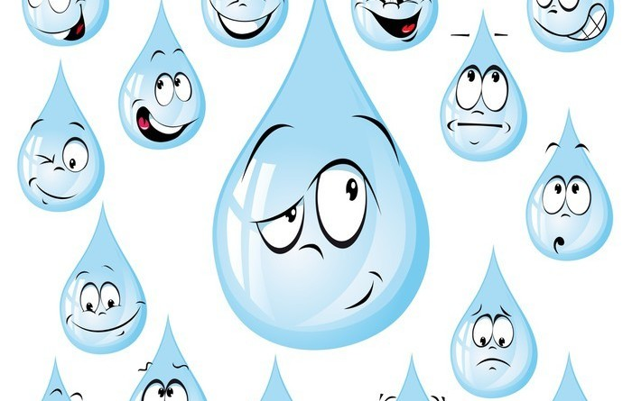 water drop cartoon with many expressions